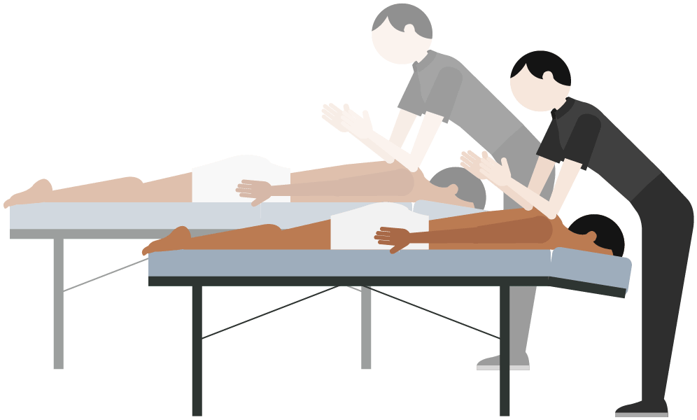Back to back massage in any massage technique