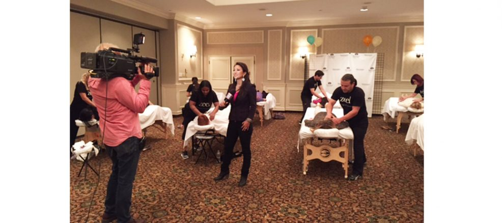 The hardworking teachers of Pressman Academy receive complementary table massages from Zeel.