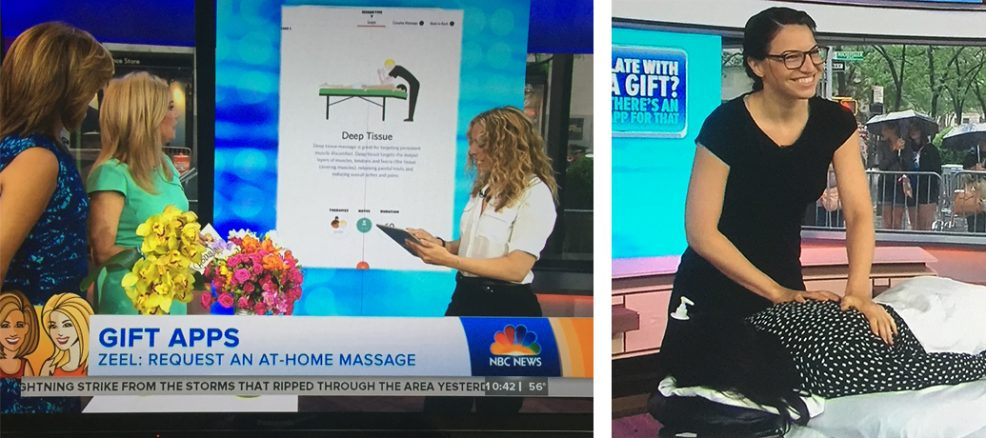 Kathie Lee and Hoda chat about the Zeel app on the Today Show while ZMT Ally Rotondo gives an on-air massage.