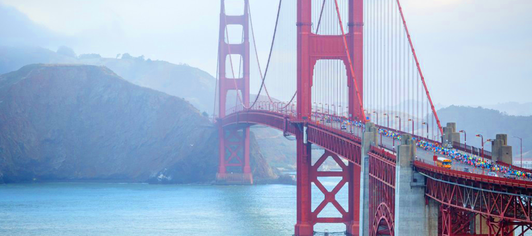 The Golden Gate Bridge stands regally in the Bay area mist.