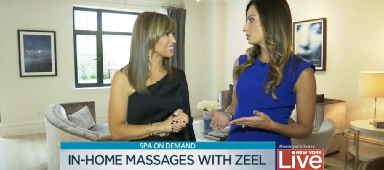 Sara Gore of NBC's New York Live tries a Zeel massage for the first time