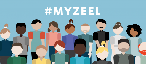 Diverse group of cartoon illustrations stand beneath the hashtag #MyZeel