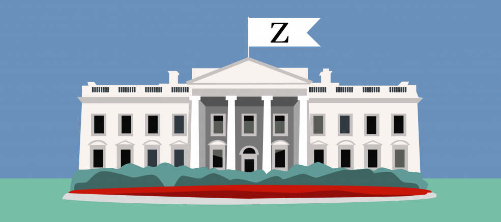 "Cartoon illustration of the white house with a Zeel ""Z"" flag flying at the top"