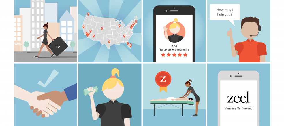 Cartoon graphics illustrate the eight reasons why Zeel is the first and best choice of on-demand, in-home massage apps!