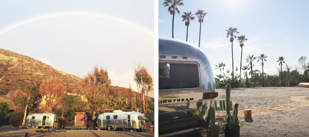 A two-set of photos show a classic airstream against a California sunset, with palm trees and a rainbow in the distance.