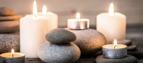 Lighted candles set the mood for an in-home spa.