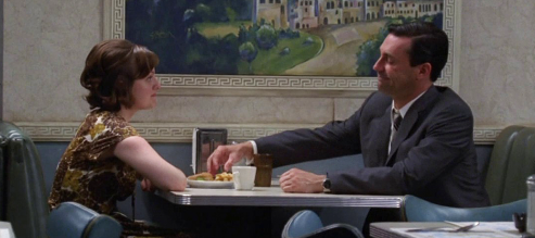 "Peggy and Don exchange words in the popular Mad Men Episode, ""The Suitcase""."