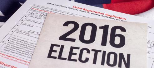 2016 election sign atop voter registration sheet.