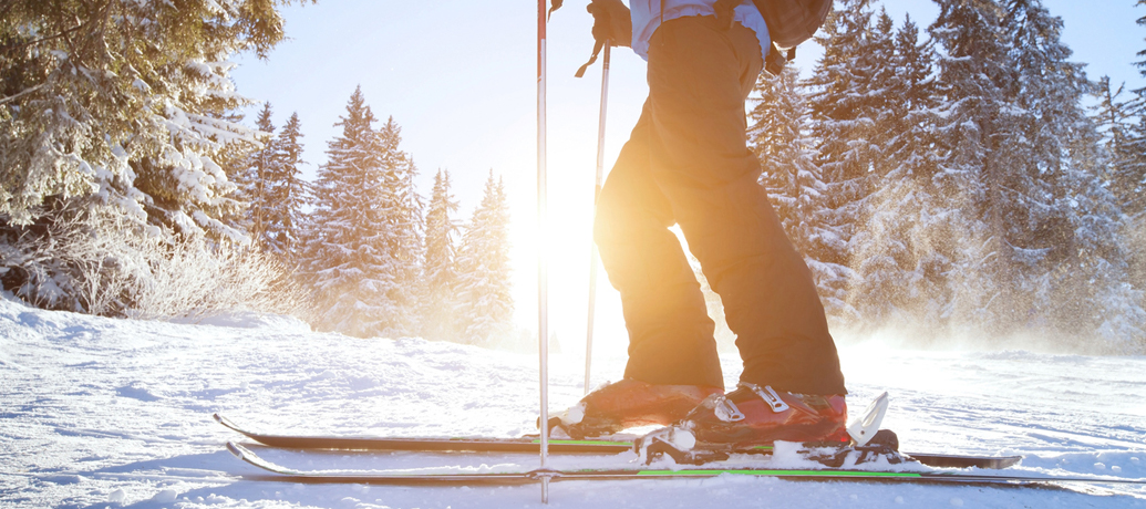 A skier stops short of the camera as the sun flares brightly through snow-frosted pine trees.