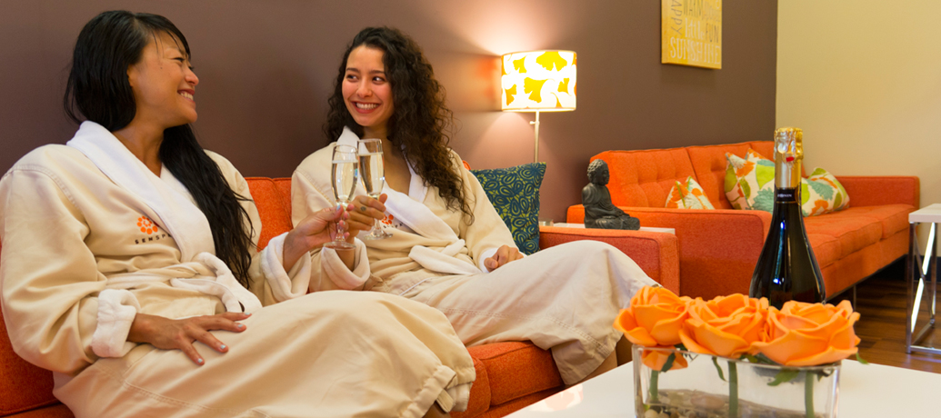 Women relaxing after getting a massage at a spa