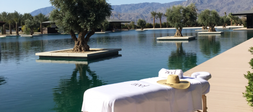 Zeel Massage table by the pool at Coachella