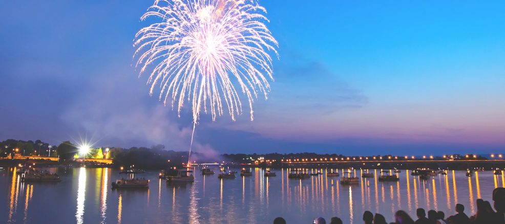 Fireworks Over the River on 4th of July
