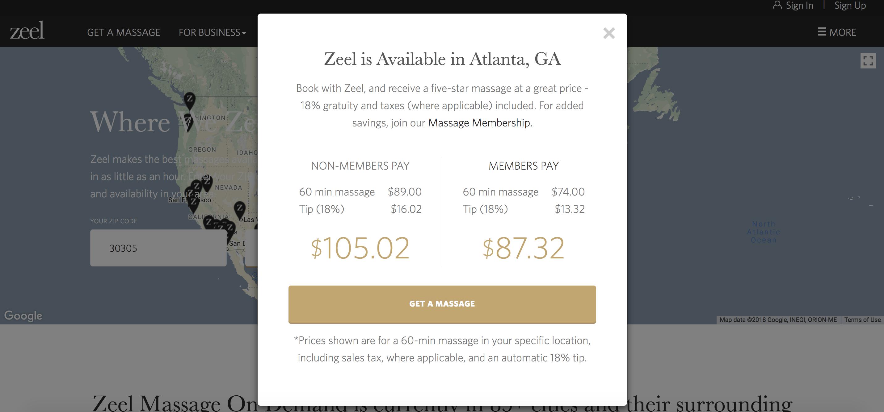 Massage Membership Zeel in Atlanta Georgia