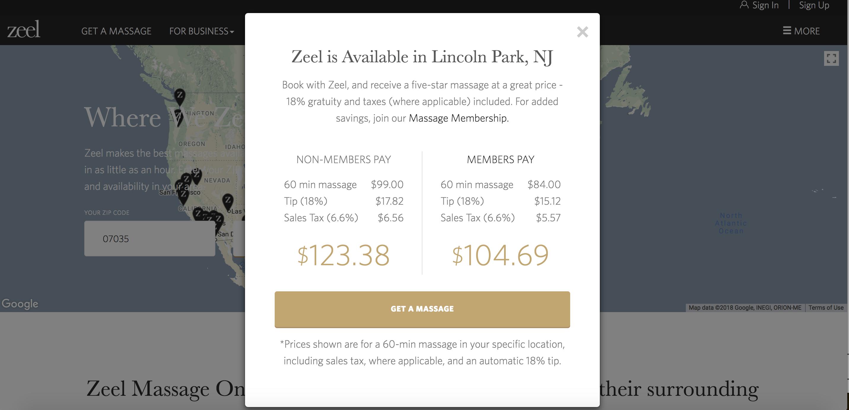 Zeel Massage membership Jersey City