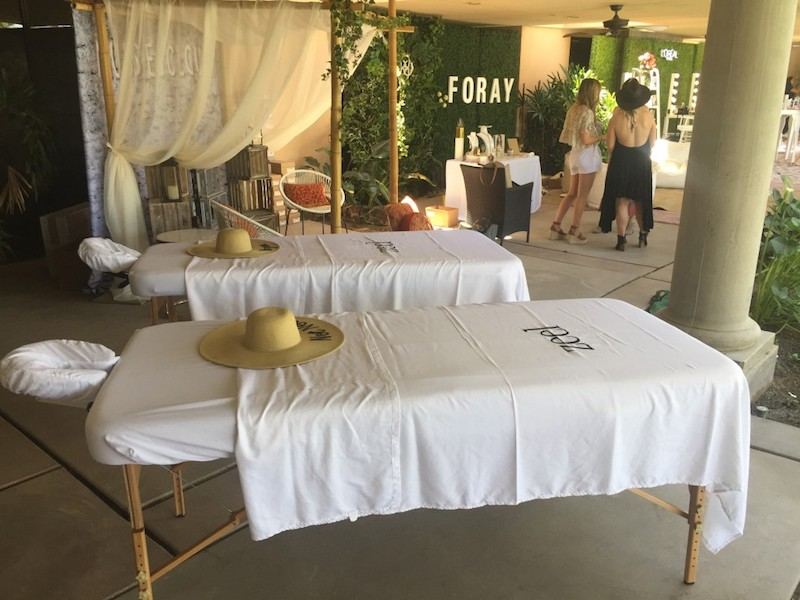 Zeel Massage tables at Foray Coachella event