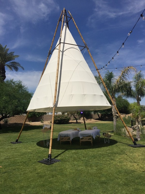 Zeel Massage tables and tepee at Coachella