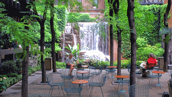 Greenacre Park hidden waterfall patio