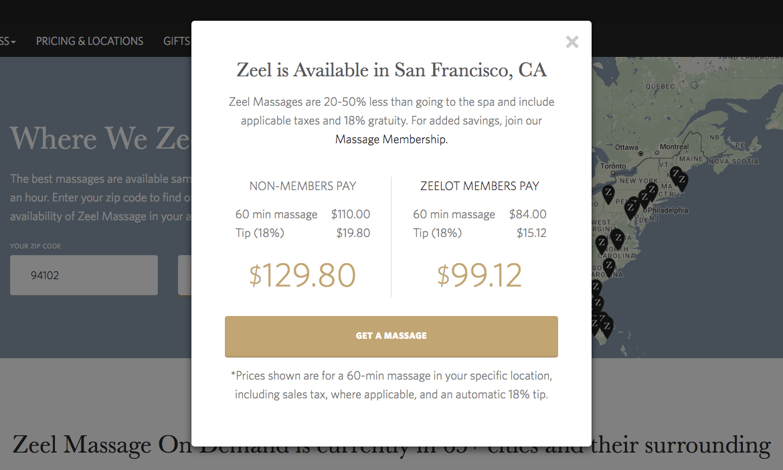 San Francisco Bay Area Zeel massage pricing