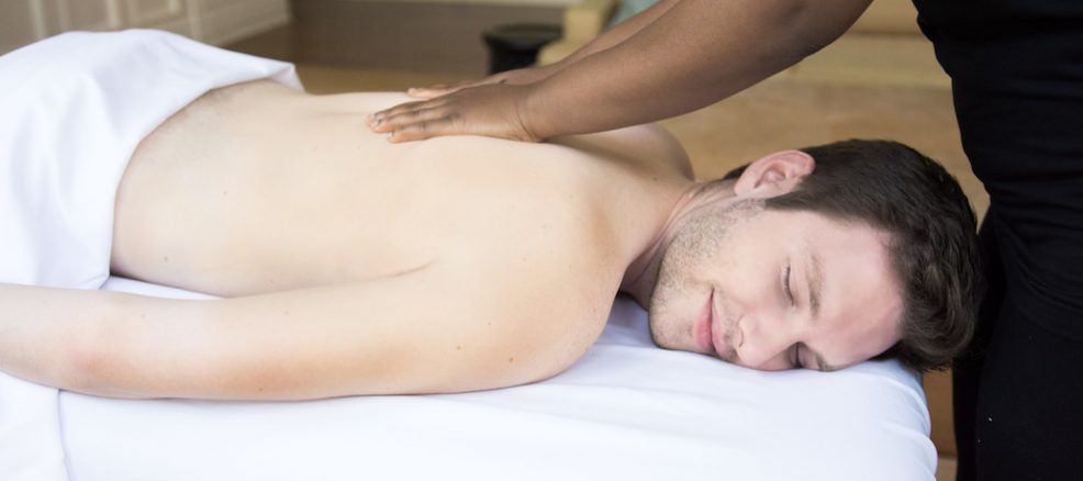Man getting massage at home