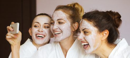 Three female friends at the spa