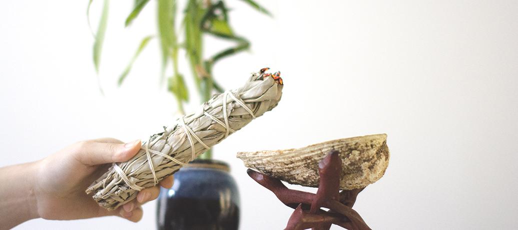 Sage smudging ritual at Zeel